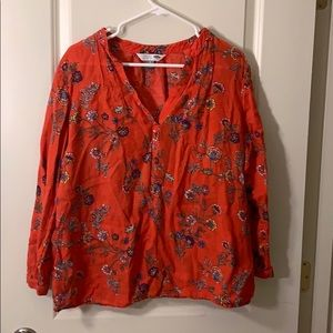 womens red flower blouse size XL